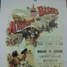 Coleccionismo de carteles: CARTEL. ARENES DE BEZIERS. ( FRANCIA ). 1897. FACSIMIL. LEER.. Lote 154736366