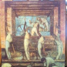 Coleccionismo de carteles: DIEGO DE RIVERA: EL TRABAJO 1 - CUADRO REPRODUCIDO EN MADERA. PINTURA GICLEE. ARTE HISPANO DE MEXICO. Lote 155219510
