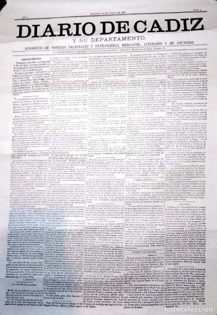 CARTEL. DIARIO DE CADIZ. SU DEPARTAMENTO. 16 DE JUNIO DE 1876. Nº 1. FACSIMIL. (Coleccionismo - Reproducciones de carteles)