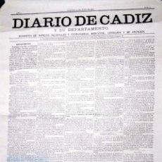 Coleccionismo de carteles: CARTEL. DIARIO DE CADIZ. SU DEPARTAMENTO. 16 DE JUNIO DE 1876. Nº 1. FACSIMIL.. Lote 155992198