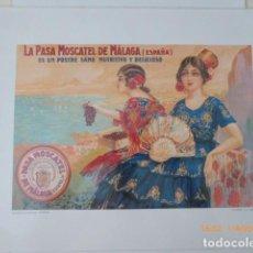 Coleccionismo de carteles: MALAGA PASAS MOSCATEL 50X40 PLASTIFICADO.. Lote 157889882