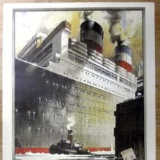 Colecionismo de cartazes: REPRODUCCION CARTEL UNITED STATES LINES - CHERBOURG MARITIME - CARTELBARCO-28. Lote 191961953