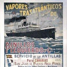 Coleccionismo de carteles: REPRODUCCION CARTEL PUBLICITARIO A COLOR. VAPORES TRASATLÁNTICOS PINILLOS IZQUIERDO - CARTELBARCO-06. Lote 184772422