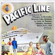 Colecionismo de cartazes: REPRODUCCION CARTEL PUBLICITARIO DE BARCO A COLOR. PACIFIC LINE - CARTELBARCO-13. Lote 193320473