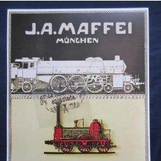 Coleccionismo de carteles: CARTEL - REPRODUCCION ANTIGUA PUBLICIDAD LOCOMOTORAS J. A. MAFFEI MUNICH - TREN FERROCARRIL -45 X 32. Lote 173082214