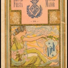 Coleccionismo de carteles: PROGRAMA DE FIESTA MAYOR DE LA CIUDAD DE VICH (VIC) 1906. CON ILUSTRACIONES MODERNISTAS.. Lote 183624335