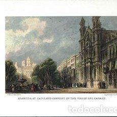 Coleccionismo de carteles: LITOGRAFIA (REPRODUCCION) CADIZ, ALAMEDA AND CONVENT OF THE VIRGIN DEL CARMEN - REPLIT-055. Lote 189258376