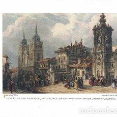 Coleccionismo de carteles: LITOGRAFIA (REPRODUCCION) MADRID, STREET OF SAN BERNARDO, AND CHURCH OF THE ... REPLIT-078. Lote 189619097