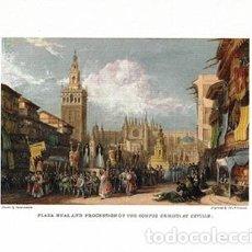 Coleccionismo de carteles: LITOGRAFIA (REPRODUCCION) PLAZA REAL AND PROCESSION OF THE CORPUS CHRISTI AT SEVILLA - REPLIT-085. Lote 189731753