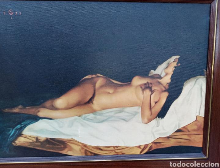 Coleccionismo de carteles: DESNUDO SOBRE LIENZO - VINTAGE - MARCO MADERA - GRAN TAMAÑO - MUY DECORATIVO - - Foto 6 - 194650952