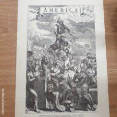 Coleccionismo de carteles: REPRODUCCION SIGLO XVII - ALEGORIA DE AMERICA - VON MEURS - 35 X 24 CM. Lote 195217653