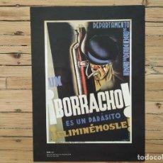 Collezionismo di affissi: BORRACHO PARÁSITO ELIMINEMOSLE. DEPARTAMENTO ORDEN PÚBLICO ARAGON. ARTEL 1937. CARTEL GUERRA CIVIL. Lote 196748438