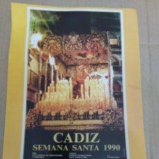 Coleccionismo de carteles: CARTEL REPRODUCCIÓN SEMANA SANTA DE CÁDIZ 1990-VIRGEN DE LA LUZ. Lote 202599956