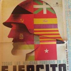 Coleccionismo de carteles: POSTER , CARTEL GUERRA CIVIL ESPAÑOLA. REPRODUCCÍON EDITA CAMBIO 16.MEDIDAS 58X42 CM. Lote 202793648