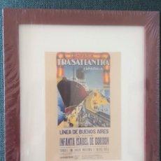 Coleccionismo de carteles: CUADRO CON LAMINA QUE REPRODUCE CARTEL DE LA COMPAÑIA TRASATLANTICA ESPAÑOLA.LINEA DE BUENOS AIRES. Lote 205536655