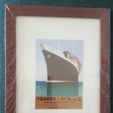 Coleccionismo de carteles: CUADRO CON LAMINA QUE REPRODUCE EL CARTEL DE LA NAVIERA IBARRA Y COMPAÑIA,. Lote 205574616