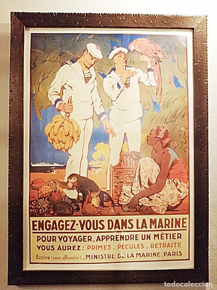 REPRODUCCIÓN ANTIGUO CARTEL DE ALISTAMIENTO A LA MARINA FRANCESA (Coleccionismo - Reproducciones de carteles)