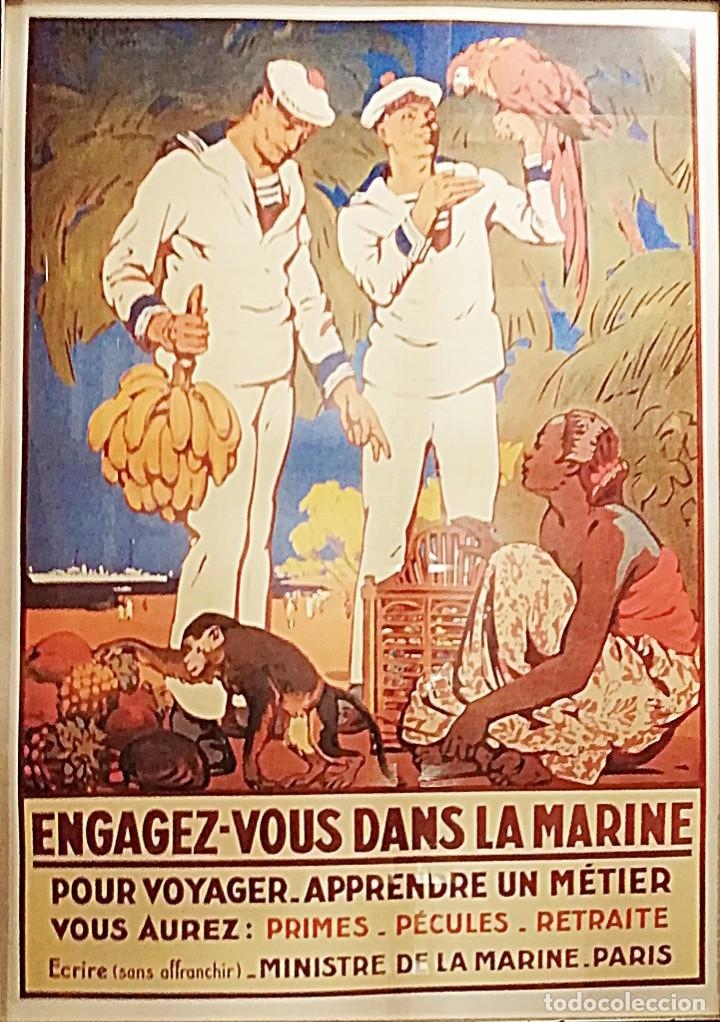 Coleccionismo de carteles: REPRODUCCIÓN ANTIGUO CARTEL DE ALISTAMIENTO A LA MARINA FRANCESA - Foto 2 - 205836547