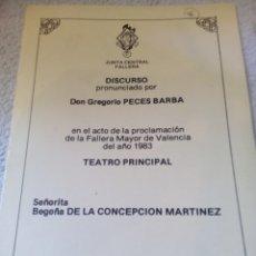 Coleccionismo de carteles: DISCURSO DON GREGORIO PECES BARBA ANO 1983. Lote 206232643