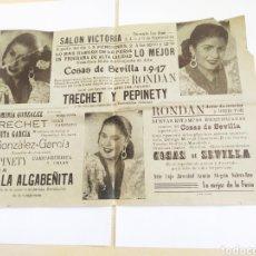 Coleccionismo de carteles: CARTEL ESPECTÁCULO, COSAS DE SEVILLA 1947.. Lote 206445403