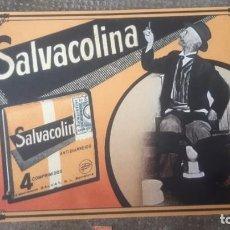 Coleccionismo de carteles: CARTEL ANTIGUO PUBLICITARIO SALVACOLINA DE FARMACIA TAMAÑO 30 X 20 CARTON DURO REPRODUCCION. Lote 206829858