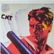 Coleccionismo de carteles: REPRODUCCIÓN DE CARTEL UN MARINO CNT GUERRA CIVIL ARTISTA ARTURO BALLESTER EXPOSICIÓN LA CAIXA 1986. Lote 210076905
