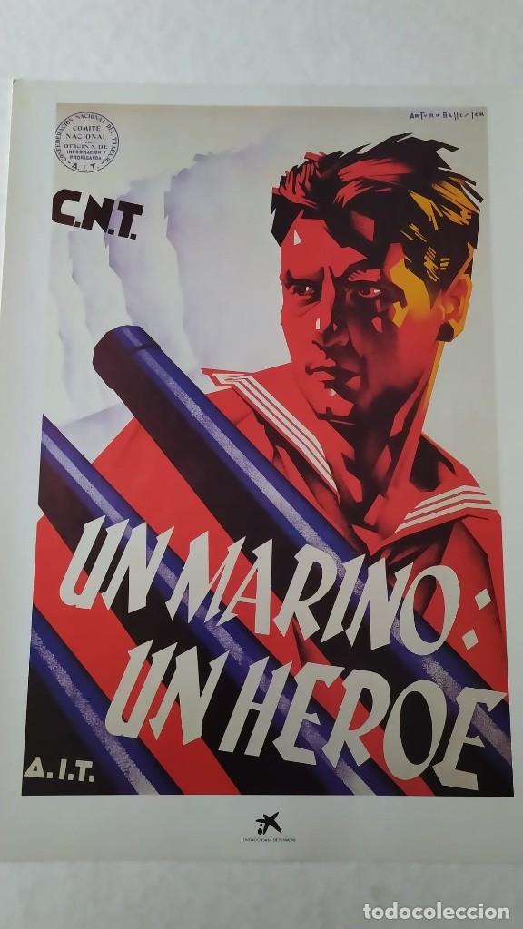 Coleccionismo de carteles: Reproducción de Cartel Un Marino CNT GUERRA CIVIL artista Arturo Ballester exposición La Caixa 1986 - Foto 2 - 210076905
