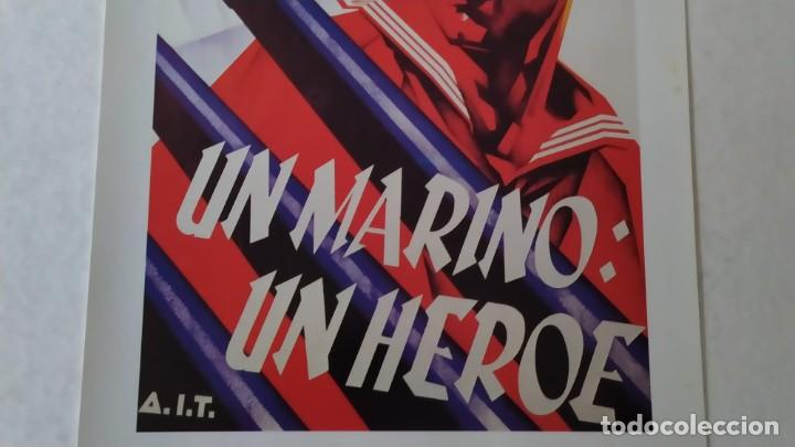 Coleccionismo de carteles: Reproducción de Cartel Un Marino CNT GUERRA CIVIL artista Arturo Ballester exposición La Caixa 1986 - Foto 6 - 210076905