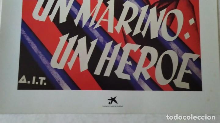 Coleccionismo de carteles: Reproducción de Cartel Un Marino CNT GUERRA CIVIL artista Arturo Ballester exposición La Caixa 1986 - Foto 7 - 210076905