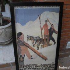 Coleccionismo de carteles: CARTEL ESQUI REPRODUCCION DE ESTILO ART-DECÒ, 1927, ENMARCADO 97X58, POSTER 90 X 52. Lote 210749565