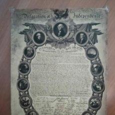 Colecionismo de cartazes: LAMINA POSTER,DECLARACION DE LA INDEPENDENCIA DE LOS ESTADOS UNIDOS. Lote 214268796