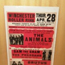Colecionismo de cartazes: THE ANIMALS. SAM THE SHAM AND THE PHAROAHS. CARTEL REPRODUCCIÓN. 44,5 X 31,5 CM.. Lote 215060202