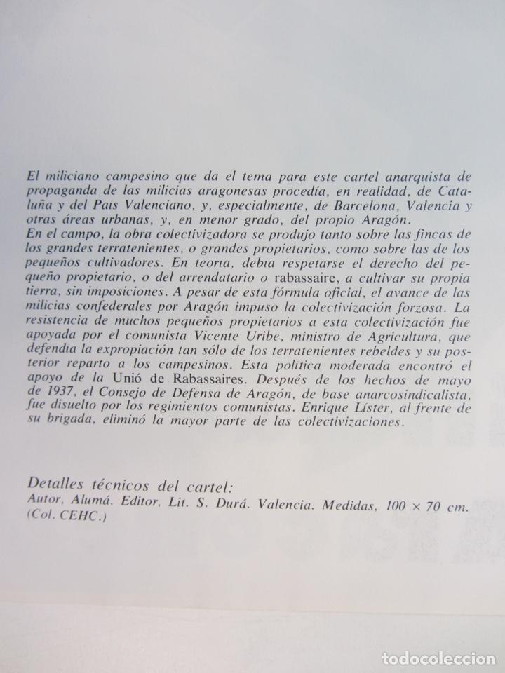 Coleccionismo de carteles: ALISTAOS EN LAS MILICIAS ARAGONESAS. CARTEL PROPAGANDA GUERRA CIVIL. REPRODUCCIÓN. - Foto 2 - 217916400