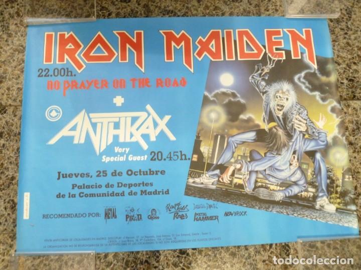 CARTEL DE IRON MAIDEN CONCIERTO NO PRAYER ON THE ROAD MADRID 1990 ANTHRAX (Coleccionismo - Reproducciones de carteles)