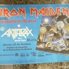 Coleccionismo de carteles: CARTEL DE IRON MAIDEN CONCIERTO NO PRAYER ON THE ROAD MADRID 1990 ANTHRAX. Lote 222716172