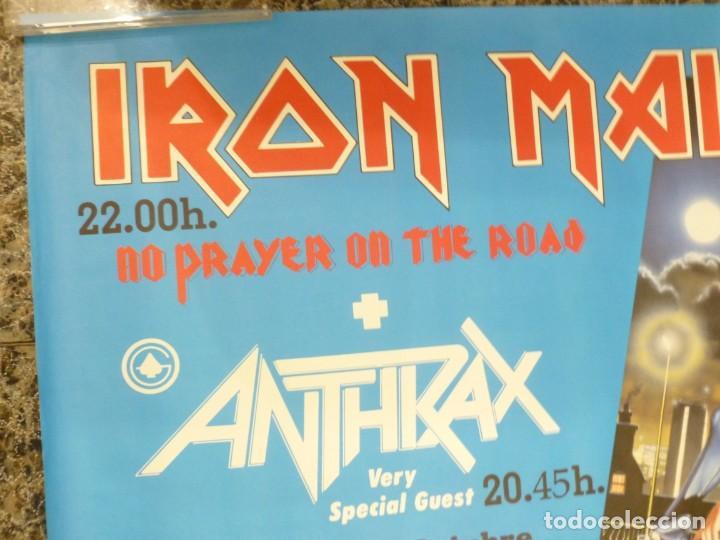 Coleccionismo de carteles: Cartel de Iron Maiden concierto No prayer on the Road Madrid 1990 Anthrax - Foto 3 - 222716172
