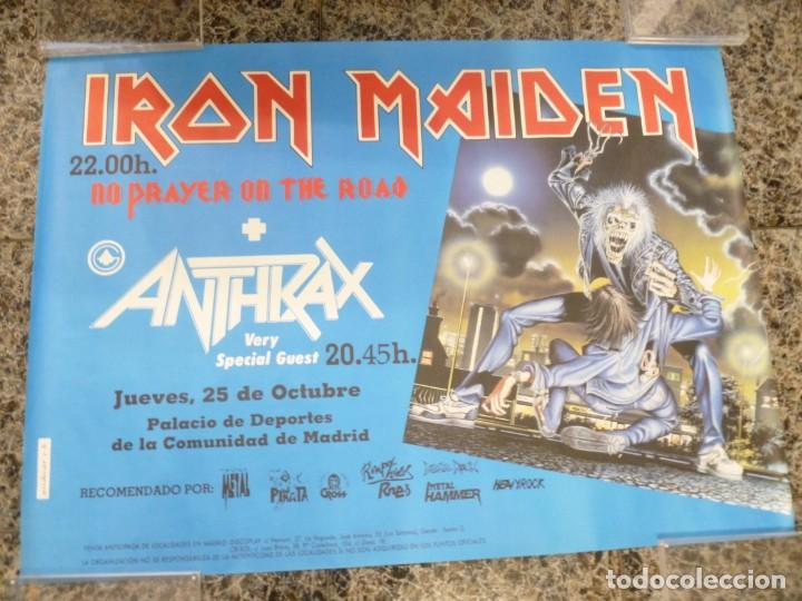 Coleccionismo de carteles: Cartel de Iron Maiden concierto No prayer on the Road Madrid 1990 Anthrax - Foto 7 - 222716172