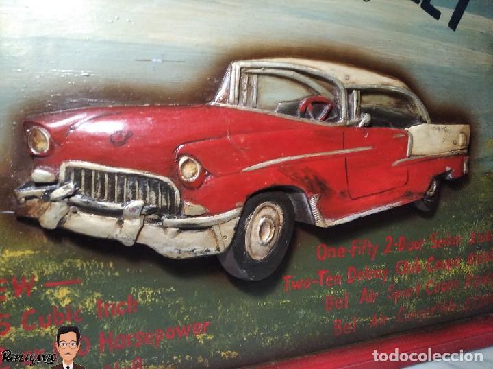 Coleccionismo de carteles: VINTAGE CARTEL DE MADERA CHEVROLET (CHEVY) 1955 SEÑALIZACIÓN TIPO TIENDA (CUADRO SEÑAL) COCHE RETRO - Foto 2 - 248212860