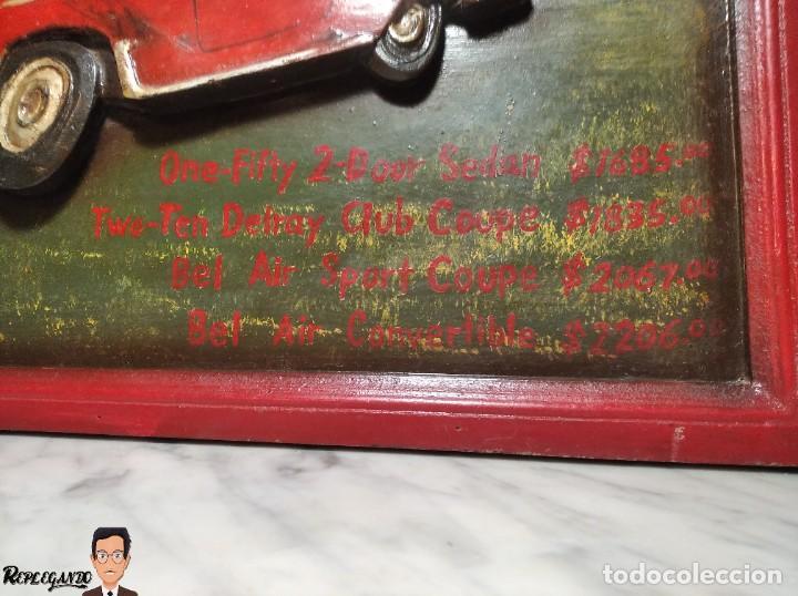 Coleccionismo de carteles: VINTAGE CARTEL DE MADERA CHEVROLET (CHEVY) 1955 SEÑALIZACIÓN TIPO TIENDA (CUADRO SEÑAL) COCHE RETRO - Foto 6 - 248212860