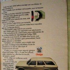 Coleccionismo de carteles: PUBLICIDAD DODGE 1500 RURAL CHRYSLER ANO 1980. Lote 255043935