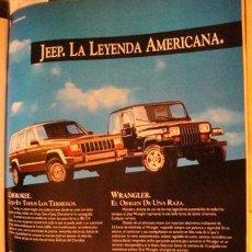 Coleccionismo de carteles: PUBLICIDAD CHRYSLER JEEP WRANGLER Y CHEROKEE ANO 1992. Lote 255054150