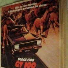 Coleccionismo de carteles: PUBLICIDAD DODGE 1500 GT 100 CHRYSLER ANO 1977. Lote 255061905