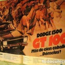 Coleccionismo de carteles: PUBLICIDAD DODGE 1500 GT 100 CHRYSLER ANO 1977. Lote 255102215