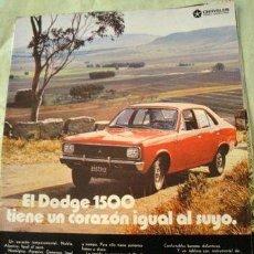 Coleccionismo de carteles: PUBLICIDAD DODGE 1500 CHRYSLER ANO 1972 HOJA SOLA. Lote 255204385