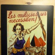 Collectionnisme d'affiches: CARTEL GUERRA CIVIL ESPAÑOLA CRISTÓBAL ARTECHE 1936 LES MILICIES US NECESSITEN! ED. PÚBLICO. Lote 262462230