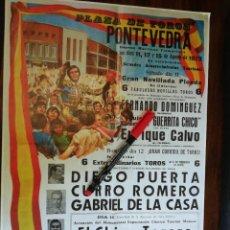 Coleccionismo de carteles: PLAZA DE TOROS DE PONTEVEDRA. 11,12 Y 15 DE AGOSTO DE 1973 (27,8CM X 39CM). Lote 263708450