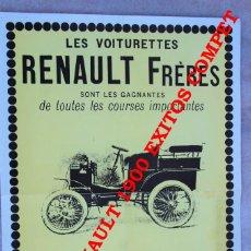 Coleccionismo de carteles: CARTEL PUBLICITARIO RENAULT 1900 (REPRO). Lote 271540393