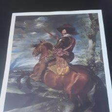 Coleccionismo de carteles: LÁMINA DEL RETRATO ECUESTRE DEL CONDE DUQUE DE OLIVARES -DIEGO DE VELÁZQUEZ- (REPRODUCCIÓN). Lote 291416598