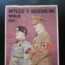 Colecionismo de cartazes: PLIEGO CON CUPONES DE RACIONAMIENTO, MUSSOLINI Y ADOLF HITLER, BERLIN 1943. CANGAS DE TINEO, OVIEDO.. Lote 292277353