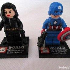 Reproducciones Figuras de Acción: MINIFIGURAS CAPITAN AMERICA Y VIUDA NEGRA. VENGADORES. MARVEL SUPER HEROES. TIPO LEGO.. Lote 64807623